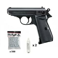 WALTHER PPK/S Pistolet à billes d'acier en metal 4.5mm CO2 + 500 billes + 2 CAPS