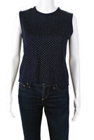 St. John Womens Sleeveless Crew Neck Spotted Sweater Top Navy Blue Size P