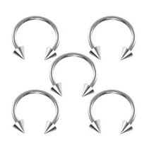 "Nose Ear Lip Ring Body Piercing Single Steel Spike Horseshoes 18g 5/16"" Eyebrow"