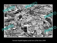 OLD POSTCARD SIZE PHOTO NORWICH NORFOLK ENGLAND AERIAL VIEW OF THE CLOSE c1950