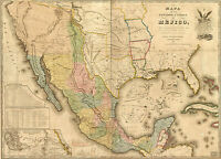 1846 Mexico Mejico USA Historic Wall Map Pre-War Home School Office Art Poster