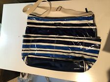 Kate Spade Ny Daycation Strap Diaper Tote Bag Stripped Blue White Zipper Coated