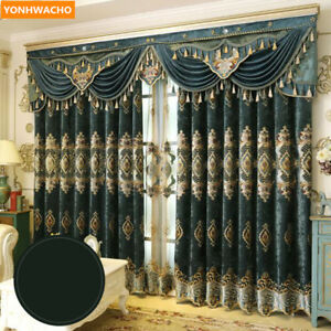 European thick chenille embroidered luxury cloth blackout curtain valance N901
