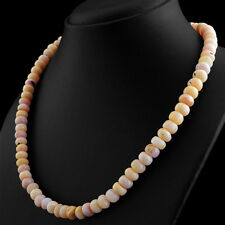 GENUINE 271.00 CTS NATURAL PINK AUSTRALIAN OPAL ROUND UNTREATED BEADS NECKLACE