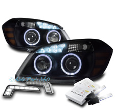 05-10 CHEVY COBALT HALO LED BLACK PROJECTOR HEADLIGHTS HEADLAMP W/DRL KIT+6K HID