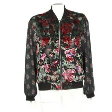Feathers By Tolani Anthropologie Velvet Burnout Floral Zip Jacket Small - 986