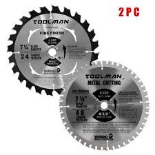 """2PC Set 7.25"""" 5/8"""" 48T 24T Carbide Tip Circular Saw Blade For Metal Wood"""