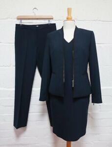 Austin Reed 3-Piece Ladies Navy Suit: Blazer, Dress & Trousers Size UK12-10
