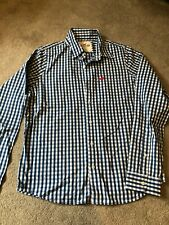 Mens long sleeved blue/white check HOLLISTER shirt (Size XL)
