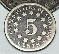 1873 US Shield Nickel 5 Cents 5C Good Ungraded Worn Date Type US Coin CC2900