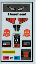 TRANSFORMERS GENERATION 1, G1 AUTOBOT HOSEHEAD REPRO LABELS / STICKERS
