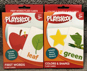Set Of 2 Playskool Flash Cards Colors & Shapes First Words Educational NEW