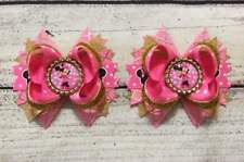 Pink/Gold Minnie Mouse Pig Tail Hair Bow SET / Shoes Topper Bows Handmade