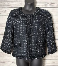 Patty Kim L Large Black White Tweed 3/4 Sleeve Blazer Jacket Lined