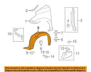 Scion TOYOTA OEM 08-14 xD-Front Fender Liner Splash Shield Left 5387652250