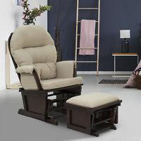 2PC Nursery Glider Rocking Chair with Ottoman Set Suede Footrest Sofa