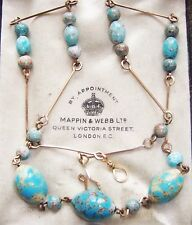 VINTAGE JEWELLERY ART DECO EGG SHELL TURQUOISE GLASS BEADS ROLLED GOLD NECKLACE