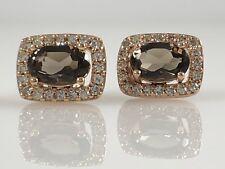 Classic Chocolate Quartz & Diamond Halo Solid 14K Rose Gold Stud Earrings, New