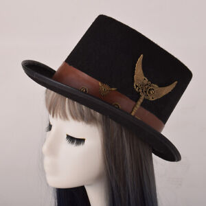 Steampunk Top Hat Gothic Victorian Carnival Party Hat Gear Wing Pin Cosplay Hat