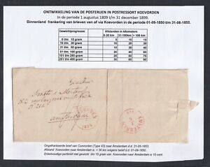 NETHERLANDS DRENTHE 1853 STAMPLESS FL COEVORDEN TO AMSTERDAM W/ CONTENTS