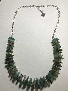 """Handcrafted Disc Sterling Silver Beach Glass 23"""" Long Necklace~ Vey Unique"""