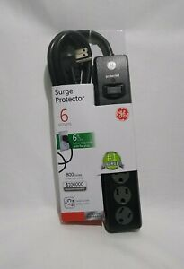 GE 33661 6-Outlet Surge Protector Extension Wire 6FT Cord Black