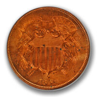 1864 2C Large Motto Two Cent Piece Uncirculated Full Red RD Beauty R727