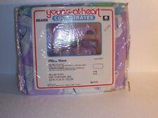 "Unicorns Rainbows Pillowsham case Vtg Nip Young at heart 20"" X 26"" Sears Usa"