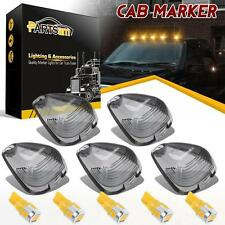 5 Roof Running Light Cab Marker Smoke Cover +Amber LED Bulb For Ford F-150 E-250