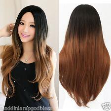 Korean Fashion No Bang Wig Long Wavy Black Brown Gradient Hair Cosplay Curly Wig