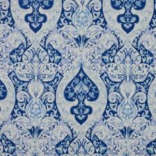 Grand Duchess Art Nouveau Fabric Navy Royal Blue White Upholstery Drapery IL10