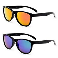 Kids Horn Rimmed Keyhole Frame Flash Mirror Lens Boys Sporty Unisex Shades