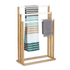 Porte-serviettes blancs en bambou pour la salle de bain