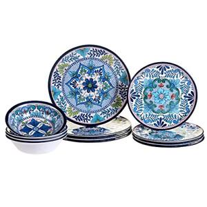 Certified International 12 Piece Talavera Melamine Dinnerware Set, Multicolor