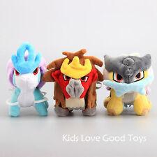 3X Pokemon Center Plush Toy Entei Suicune Raikou Collection Stuffed Animal Doll