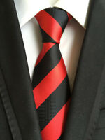 Classic Mens Black Red striped Tie Silk JACQUARD WOVEN Necktie Wedding Party