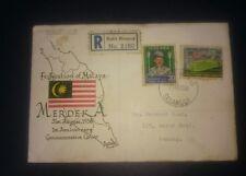 1958 Stamp FDC 1st Anniversary Merdeka Malaysia Malaya Selangor Bukit Bintang
