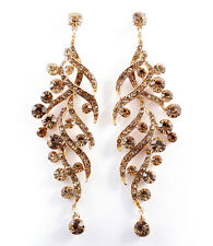 Gold Toned Drop Earrings with Tangled Smokey Topaz & Gold Crystal Studs - E19M