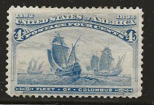 US Scott #233, Single 1893 Fleet of Columbus 4c FVF MNH