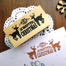 merry christmas deers wooden stamp diy elk gift wood rubber decorative stampsEP