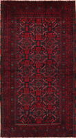Tribal Geometric Balouch Oriental Area Rug Wool Hand-Knotted Nomad Carpet 3x6