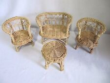 LOT OF 4 PC BARBIE DOLL SIZED LIGHT TAN WICKER FURNITURE CHAIRS TABLE LOVE SEAT
