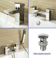 Modern Square Chrome Bathroom Deck Mount Basin Sink Mixer Bath Filler Tap Set