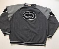 Vintage Ecko Unltd. Mens Size XL Gray Black Sweater Big Rhino Logo Ribbed