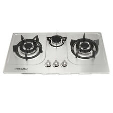 "30"" Steel 3 Burners Built-In Gas Cooktop LPG NG Fix Gas Hob Kitchen Cooker,USA"