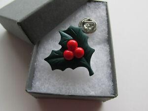 Handmade Unusual Dark Green Holly & Red Berry - Leaf Christmas Brooch Lapel Pin
