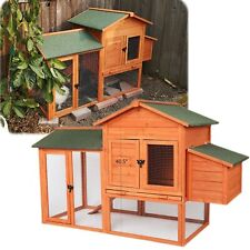 Large Waterproof Roof  Wooden Chicken Coop Backyard Hen House Rabbit Hutch Cage