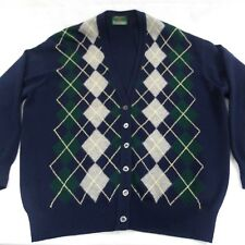 The Scotch House Argyle Mens 100% lambswool Cardigan Navy Blue Scotland sz 44