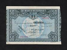 F.C. 50 PESETAS BANCO DE BILBAO 1937 , MBC+ .