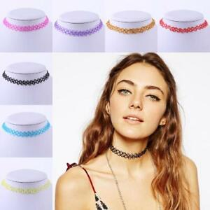 Girls Choker Necklace Ladies Stretchy Tattoo Womens Hip Vintage Multi Colour UK